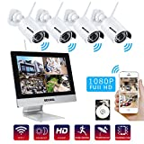 Bechol 1080HD Wireless Security Surveillance IP Camera System 4CH WiFi NVR with 12'' LCD Monitor