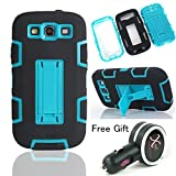 Topforcity Rugged Hybrid Rubber Shockproof Protective kickstand Case for Samsung Galaxy S3 i9300 with Screen Protector(black+blue) + Free Xpower Car charger
