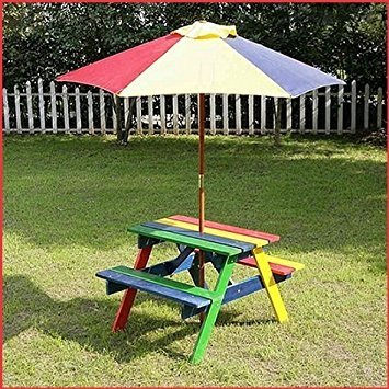 Picnic Wooden Bench Table Parasol Set For Outdoor Garden Table - Picnic table parasol
