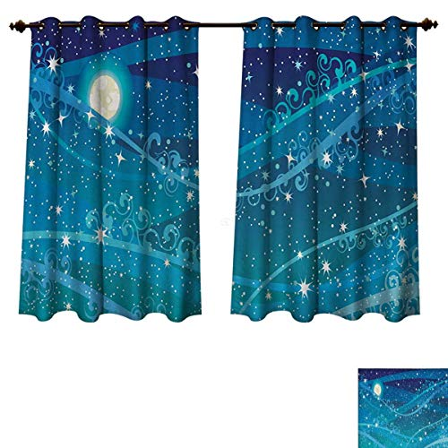 RuppertTextile Starry Night Bedroom Thermal Blackout Curtains Night