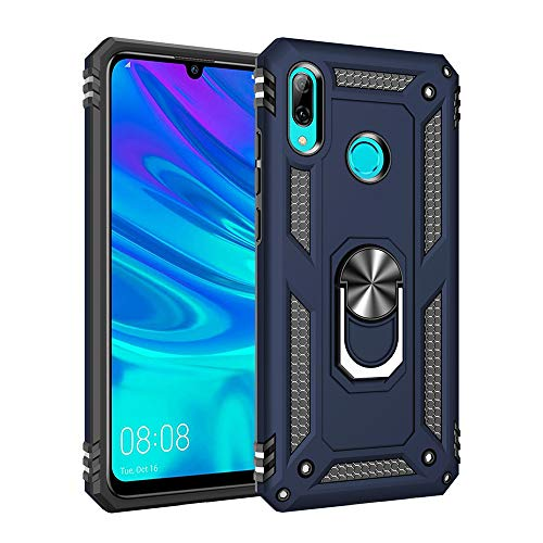 for Huawei P Smart 2019/Honor 10 Lite case Hard Shell Military Protective Cover with Holder 360° Ring for Magnetic Car Mount (Blue) (Best Smart Ring 2019)