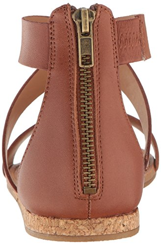 Steve Madden Womens Halley Flat Sandal Cognac Leather