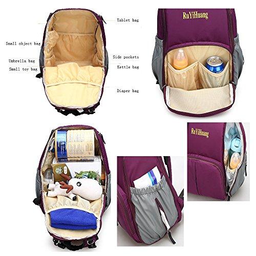 Beatsport - Bolso mochila  de Nylon para mujer Negro A-purple A-blue
