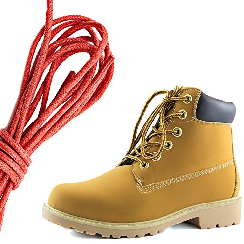 DailyShoes Womens Lace-Up Ankle Padded Collar Work Combat Hard Toe Booties, Red Tan Black Pu