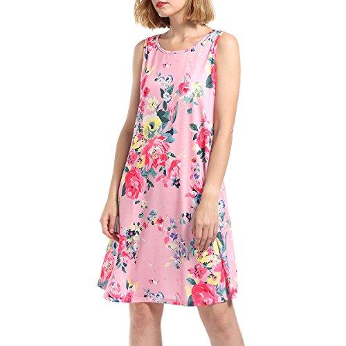 Vestido sin Mangas del Tanque de la túnica Plisada del oscilación Flojo sin Mangas del Verano de la impresión Floral de Las Mujeres (Color : As Shown, tamaño : XL)