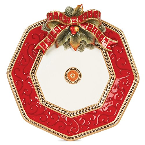 Fitz and Floyd 19-615 Damask Ceramic Holiday Platter, 14-Inch, Vintage Red/Gold