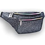 Leather Fanny Pack for Women - Galaxy Glitter Waist Pack with Holographic Colors (Galaxy Black)