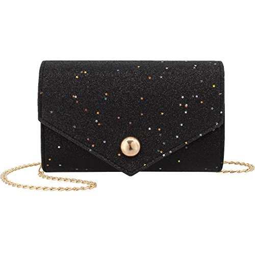 Fashion Women Star Black Pattern Dazzling Bag Handbag Evening Clutch Liliam Party Shoulder Crossbody qBdw5BKt