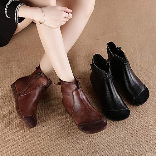 Gaslinyuan Zipper Stiefel Damen Flache Leder Soft Ankle Schuhe Schuhe Schuhe (Farbe   Braun, Größe   EU 39) bd1a03