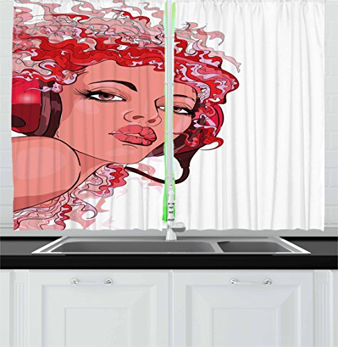 """Lunarable Music Kitchen Curtains, Abstract Young Woman Portrait with Headphones and Hair, Window Drapes 2 Panel Set for Kitchen Cafe Decor, 55"""" X 39"""", Coral Vermilion"""