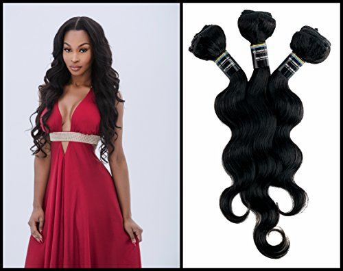 "NEO 12""14""16"" Inch Brazilian Body Wave Hair Extensions. Best Quality Virgin Remy Human Hair Double Weft Weave Natural Black Color. Real 7A Grade, Pack of 3 Bundles - 270g per Lot."