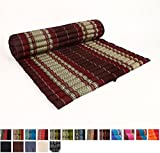 Leewadee Roll Up Thai Mattress XL, 79x41x2 inches, Kapok, Brown Red, Premium Double Stitched