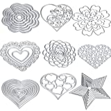 embossing and cutter dies - Cutting Dies Cut Metal Scrapbooking Love Heart Square Flower Star Sunflower Stencils Nesting Die for DIY Embossing Photo Album Decorative DIY Paper Cards Making Craft 9set (Set 5)