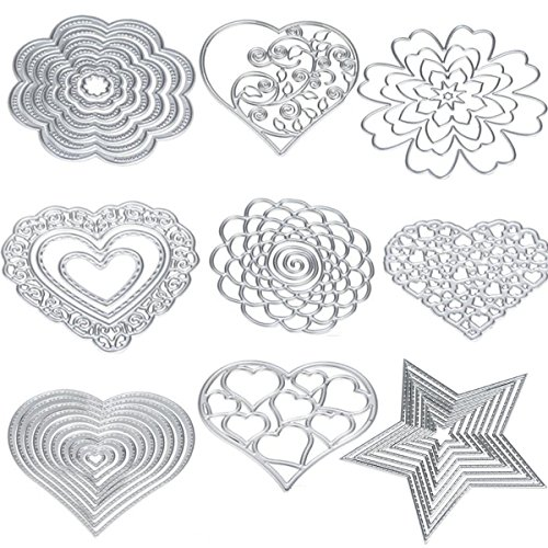 Cutting Dies Cut Metal Scrapbooking Love Heart Square Flower Star Sunflower Stencils Nesting Die for DIY Embossing Photo Album Decorative DIY Paper Cards Making Craft 9set (Set 5) (Big Shot Machine Best Price)
