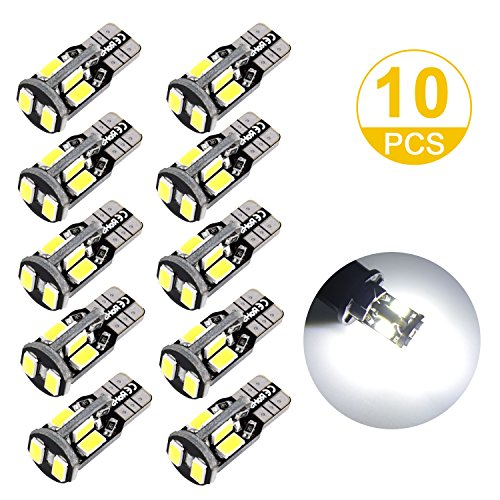 Toplus 194 LED Light Bulb, Super Bright 168 2825 W5W T10 Wedge 10-SMD 5730 Chipset LED Replacement Bulbs, 12V Car Interior Lights for Dome Map Side Marker Door Courtesy License Plate White 10-Pack