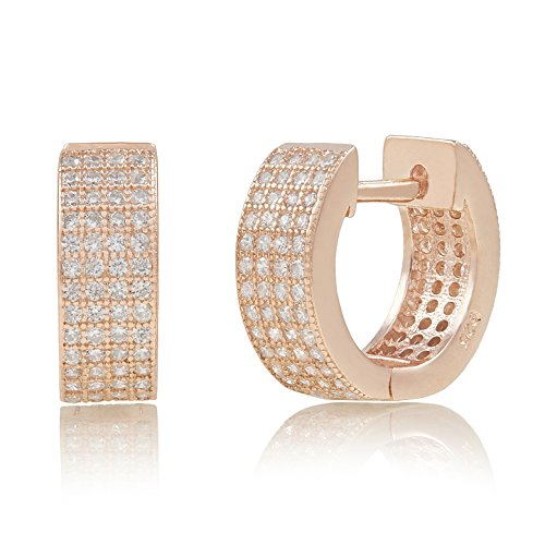 Spoil Cupid Rose Gold-Plated Sterling Silver Pave Cubic Zirconia Huggie Hoop Earrings