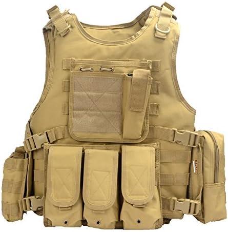 YAKEDA® Hinchas del ejército Chaleco táctico Swat CS Campo táctico del ejército del Chaleco del Chaleco al Aire Libre CS del Juego del Chaleco de Cosplay del Juego Counter Strike Vest-322 (Caqui):