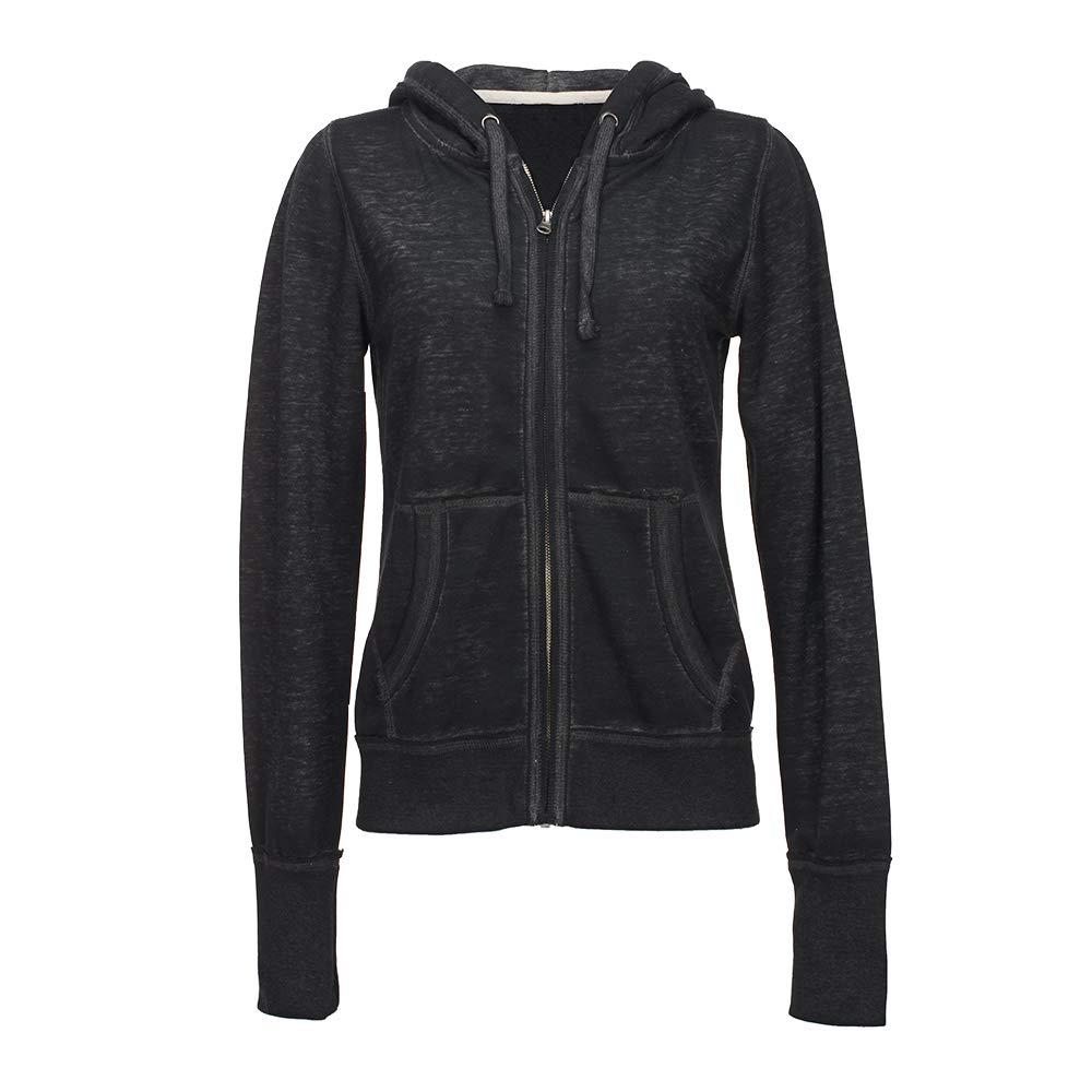 J. America Ladies Zen Full Zip Hooded Sweatshirt (Small, Twisted Black)