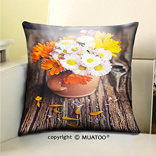 Soft Canvas Throw Pillow Covers Cases for Couch Sofa -bouquet of garden flowers on old wooden bench Print 18 x 18(45 x 45 cm) - 45 Inch Bench Cushion Prints