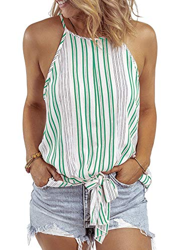 - Asvivid Womens Halter Multicolor Striped Summer Cami Tank Tops Casual Loose Sleeveless Tie Knot Shirt Chiffon Blouses S Multi2