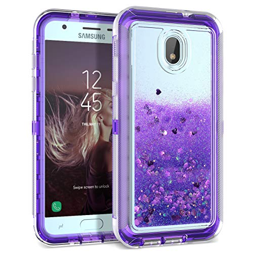 Dexnor Compatible Samsung Galaxy J3 2018/ J3 Express Prime/Amp Prime 3/ J3 Eclipse 2 Case Glitter 3D Bling Liquid Clear 3 in 1 Shockproof Silicone + PC Protective Defender for Girls/Women - Purple