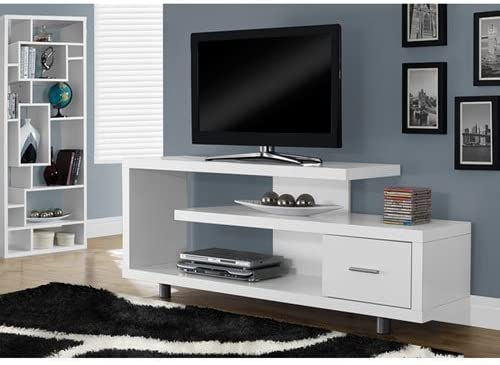 Monarch Specialties White TV Stand