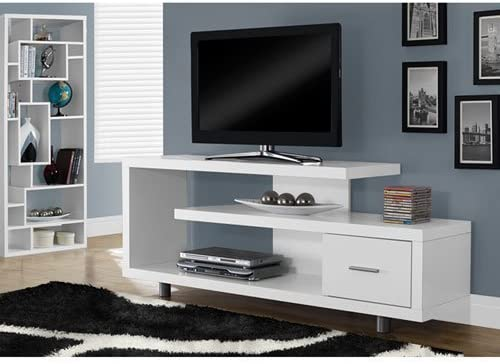 "Monarch Specialties TV Stand with 1 Drawer, 60""W, White"
