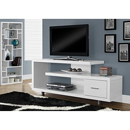 Amazon Com Monarch Specialties I 2573 White With 1 Drawer Tv Stand