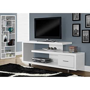 """Monarch Specialties I 2573 White with 1 Drawer TV Stand, 60"""""""