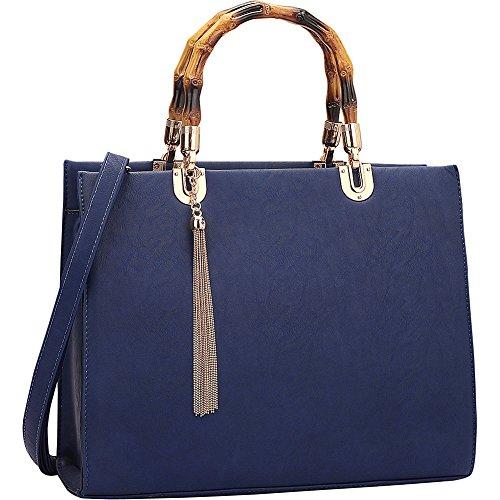 (Dasein Bamboo Handle Smooth Leather Medium Satchel (Blue) )
