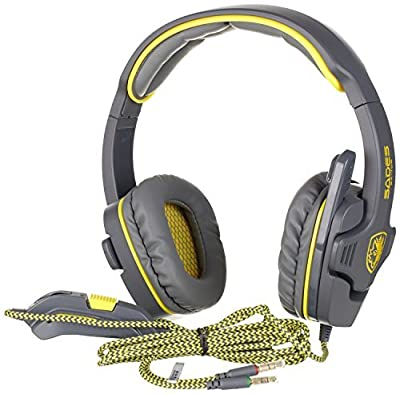 SADES A70 Surround Sound Stereo 7.1 USB Gaming Headphones Headset with Microphone,Black and White