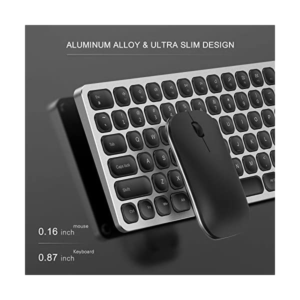 Rechargeable Wireless Keyboard Mouse, Jelly Comb KM034 Aluminium Alloy 2.4GHz Full Size Wireless Keyboard and Mouse…