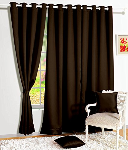 Story@Home Blackout Faux Silk Superior Plain Solid 1 Piece Door Curtain, 7ft, Dark Brown