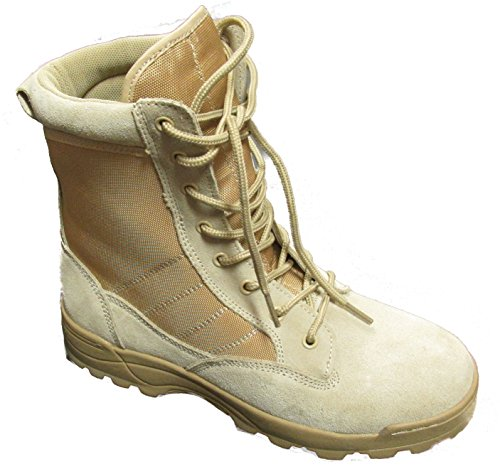 Kids Desert Tan Military Style Boots - Desert Tan - 5 Regular - Kids Military Army Uniforms