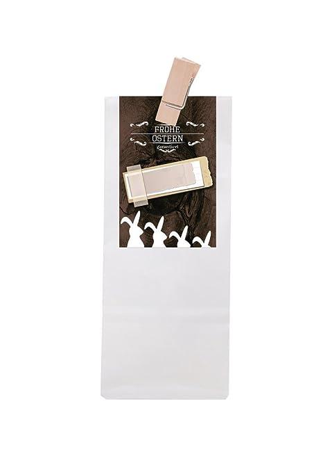 10 Blanca Bolsa de Regalo con base de pergamino con madera ...