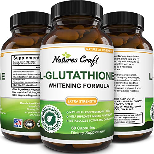 Glutathione Skin Whitening Supplement – Potent Antioxidant with Milk Thistle for Immune System Liver Health Boost…