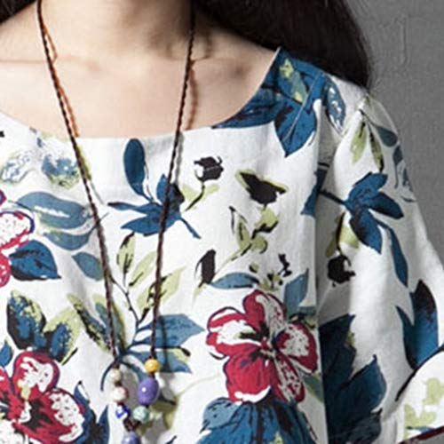 WEISUN Women Cotton Linen Dress Summer Casual Short Sleeve Dresses O-Neck Plus Size Print Dress with Pockets White by WEISUN (Image #7)