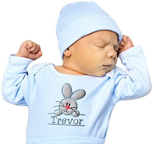 Funny Girl Designs Embroidered Easter Bunny Onesie Bodysuit For Baby Boys - Your Custom Name (0-3 Months, Long Sleeve, Light Blue)