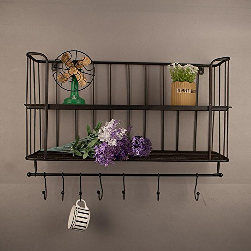 ZR- Hand wrought iron wall shelf Retro simple furniture Double wall racks   Kitchen storage rack hook ()