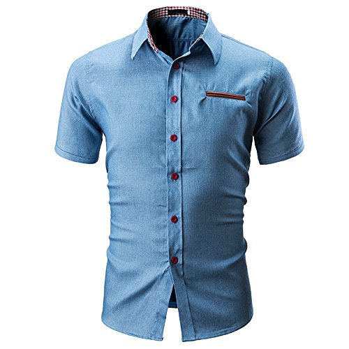 (2019 Men's Button-Down Short Sleeve Blouse, Slim Fit Casual Solid Color Shirts (Blue, XL) )