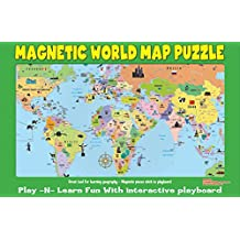 Ata-Boy Magnetic World Map Play-n-Learn Puzzle Board
