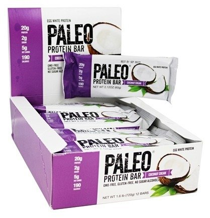 Paleo Protein Bar, Coconut Cream, Pack of 24 (12 x 2 cases), 2.21 oz (62.7g)