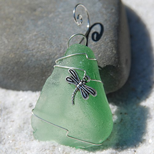 Custom Surf Tumbled Sea Glass Ornament with a Silver Dragonfly Charm - Choose Your Color Sea Glass Frosted, Green, and Brown.