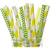 Tractor Party Supplies, Farm Tractor Straws (25 Pack) - Tractor Farm Birthday Party Supplies, Yellow & Green Tractor Boys Birthday Party Decorations