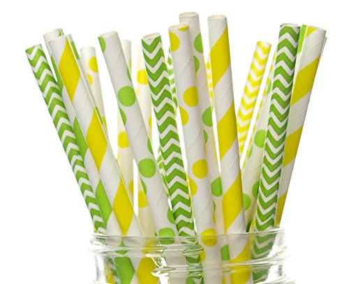 Tractor Party Supplies, Farm Tractor Straws (25 Pack) - Tractor Farm Birthday Party Supplies, Yellow & Green Tractor Boys Birthday Party -