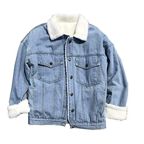 Elegante Autunno Manica Jacket Button Hot Donna Velluto Sciolto Hellblau Coat Spesso Termico Denim Fashion Giacche Tasche Outerwear Lunga Invernali Jeans Con Cappotto Casual Zw7xqRC6w