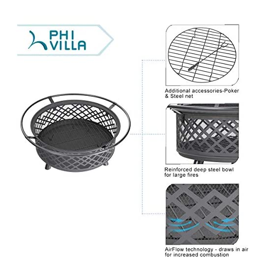 """PHI VILLA 32"""" Fire Pit Large Steel Patio Fireplace Cutouts Pattern with Poker & Spark Screen - ❤32"""" Fire Pit With Screen: Measures Dia.32"""" x H19.7"""". Approx 25 pounds. Lightweight and portable to move by catching the iron ring around ❤Spark Guard/Poker/Steel Net: Heavy-gauge spark screen protects you and your guests from sporadic flames and embers, offering an extra layer of safety. The poker helps you remove the spark screen and move logs more easily. Additional steel net is included to support the wood and let the air in beneath ❤Deep Steel Bowl: Large, deep-drawn steel bowl accommodates large fires for added warmth and convenience. Stable steel construction and heat-resistant painting keep the fire pit long lasting. Decorative lattice design cutouts for better flame visibility - patio, outdoor-decor, fire-pits-outdoor-fireplaces - 51b4aoWviLL. SS570  -"""