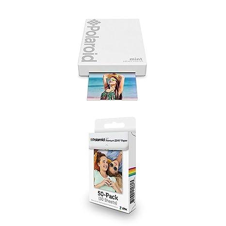 Polaroid Mint Impresora de Bolsillo, Blanco + Paquete de 50 Hojas ...