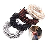 8 Pcs Women High Elasticity Corn Flower Hair Circle Scrunchie Hair Rope - Rubber Band Lace Hair Band Hair Ring Hair Tie
