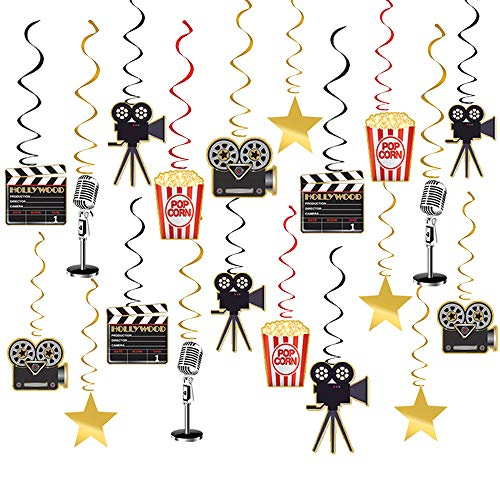 Movie Night Party Supplies Hanging Decorations - 30pcs Hollywood Movie Theme Party Decorations]()